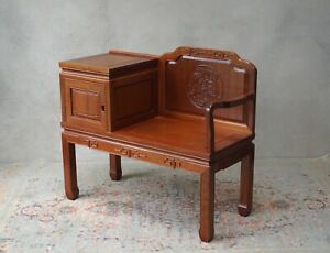 Hall Seat Telephone Table Oriental Heavy Carved Wood -Delivery Available