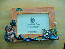 1996 Bramble & Clover Hand Painted Picture Frame Hedgehog & Dial Telephone