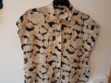 Topshop peach & black floral silk blouse size 12 boxy summer short sleeved Shirt