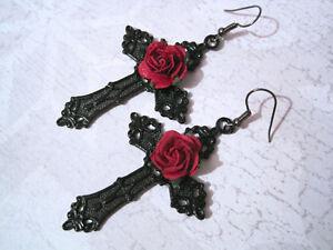 LARGE JET BLACK CROSS RED ROSE Gothic Drop Earrings Dita Halloween Rockabilly