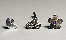925 Sterling Silver Nose Bone Studs Piercing  Sparkly Diamond Flowers and Moon