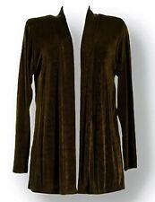Jostar Acetate Slinky Stretchy Travel Knit Long Sleeve Drape Jacket Brown ~ XL