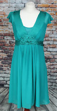 MONSOON 100% Silk Cocktail Dress Green Pleated Cap Sleeve Party Wedding Prom 12