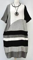 """PLUS SIZE ZEDD PLUS BLACK/GREY/WHITE COTTON BLEND STRIPED DRESS BUST 54-56"""" XXL"""