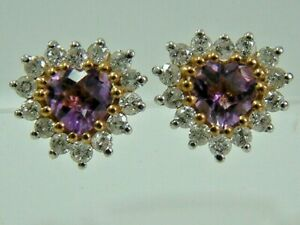 9CT YELLOW GOLD PINEAPPLE CUT HEART AMETHYST AND DIAMONDS CLUSTER STUD EARRINGS
