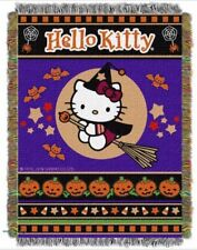 "Hello Kitty Halloween Blanket Woven Tapestry Throw 46"" X 60"" FREE USA SHIPPING"