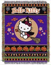 "Hello Kitty Halloween Blanket Woven Tapestry Throw 46"" X 60"" NWT"