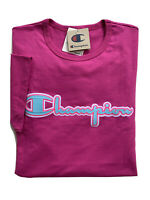 CHAMPION Life Mens Chainstitch Script Logo Applique Heritage Tee Pink NWT 2XL