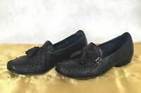 COLE HAAN Womens BLACK soft leather Tassel Slip On Loafer Shoes SZ 6 AA EUC