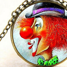 New Circus Carnival Clown Face, Glass Pendant Necklace, Red Nose, Green Bow Gift