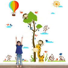 Kids Children Monkey Height Measure balloon Wall Stickers Decals Art Mural Paper