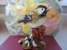 CHICKADEE  ~ JEWELED ENAMEL TRINKET BOX ~  #3310