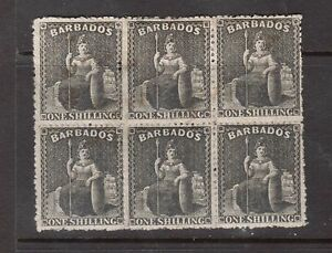 Barbados #28 (SG #47) VF Mint Block Of Six