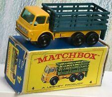 Matchbox Lesney No. 4d Dodge Stake Truck 6BPW deep yellow VNM box blue stake bed