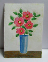 ACEO Original Miniature Painting,THURSDAY'S FLOWERS #2, Mixed Media, 3.5 x 2.5in