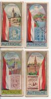 4 Austria Autriche  Pre-WWII Trade Ad Cards Showing Postage Stamp Flag