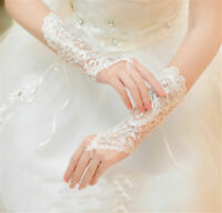 White/Ivory Gloves Fingerless Elbow Bridal accessories Lace Wedding Rhinestone