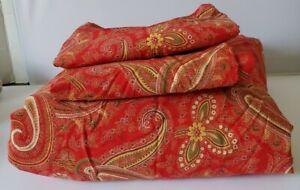 Pottery Barn Mira Anibel RED Paisley Cotton FULL/QUEEN Duvet + 2 STD SHAMS