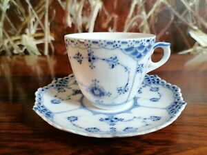 Royal Copenhagen Denmark, Midi Coffee Cup with Saucer Fluted Full Lace