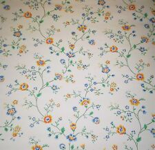 Vintage Small Print Blue, Yellow & Dark Pink Floral Vines on Off White 999-2053