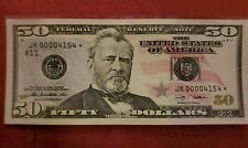 $50 Fifty Dollar Bill Federal Reserve ☆ STAR NOTE ☆  VERY LOW Serial Number 2009