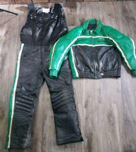 Vintage Arcticwear Arctic Cat Green Leather Snow Suit Pants Bibs Jacket Large