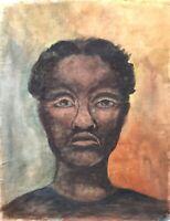Acquerello Vera Bump Ritratto Donna Bambina Africana Nero Poc Espressiva Moderno