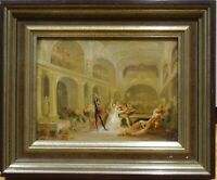 Unusual 18th 19th Century Skeleton Devil Demon At The Banquet Antique Painting