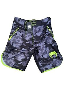 """Venum Camo MMA Fight Shorts - Black/Grey / Neon NWT! VENUM Size 30"""" Small"""