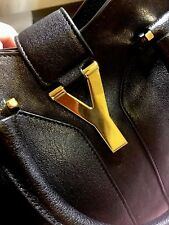 SAINT LAURENT Cabas Y (ChYc) Leather Bag Gold HW, Final Price $895