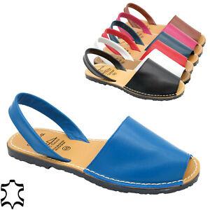 Damen Sandalen Leder Avarcas Sommer Schuhe Echtleder Menorca Sandaletten flach