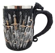 Medieval Dragon Iron Throne Of Swords Tankard Coffee Mug Cup Figurine 5.25 H