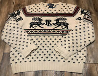 Vintage Polo Ralph Lauren Fair Isle Reindeer Wool Hand Knit Sweater XL