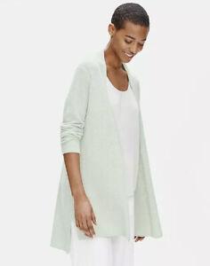 Eileen Fisher NWT Medium Organic Linen Crepe Stretch Long Cardigan In Mist $278