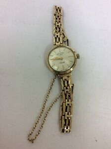 Rotary 9 carat 375 gold 21 jewel gate chain watch with safety chain Swiss made