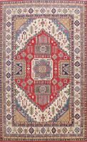 RED/IVORY Vegetable Dye 8'x11' Super Kazak Oriental Area Rug Hand-knotted Wool