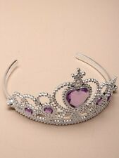 NEW Plastic silver childrens purple stone tiara hair accessory bling party prom