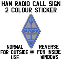 CALL SIGN DECAL STICKER DIAMOND LOGO BLUE ON SILVER BACKGROUND HAM AMATEUR RADIO
