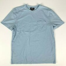 APC Plain Front Cotton Pocket T Shirt sz S Light Blue