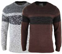 Mens Wooly Feel Jumper Smart Casual Brown Grey Festive Round Neck