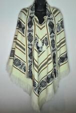 Vintage Woven Striped Poncho Shawl Multi Color S/M