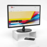 White Desktop Monitor Stand / Display Screen Riser W/D/H 30cm x 20cm x 10cm