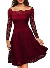 Women's Vintage Floral Lace Boat Neck Formal Cocktail Evening Party Swing Dress