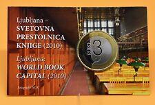 SLOVÉNIE 2010 : coincard 3 euro Ljubljana capitale mondiale du livre. BE/PROOF.