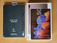 Samsung Galaxy Tab S7+ Plus Bronze 256Go + 8Go RAM SIM 5G + Book Cover Keyboard