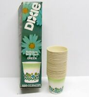 Vintage 70s Dixie Paper Bathroom Refill Cups Partial Box Green Floral 39 Count