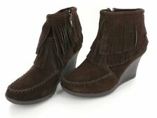 Minnetonka Womens Double Fringe Ankle Wedge Boot Booties Chocolate Suede Sz 9.5