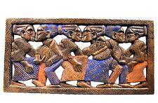 Art Africain - Tableau Yoruba Yorouba - Scène de Danse - Bois Sculpté - 61,5 Cms