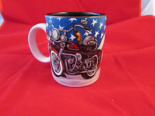 COFFEE CUP MUG MOTORCYCLE WITH AMERICAN FLAG OLD GLORY BLACK INTERIOR COND: VG