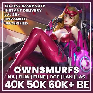 League of Legends Account EUW NA EUNE OCE LAN UNRANKED LEVEL 30 40K 50K 60K BE